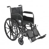 "Drive Medical Silver Sport 2 Wheelchair, Non Removable Fixed Arms, Elevating Leg Rests, 18"" Seat"