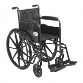 "Drive Medical Silver Sport 2 Wheelchair, Non Removable Fixed Arms, Swing away Footrests, 18"" Seat"