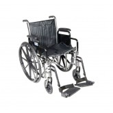 "Drive Medical Silver Sport 2 Wheelchair, Detachable Desk Arms, Swing away Footrests, 20"" Seat"