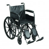 "Drive Medical Silver Sport 2 Wheelchair, Detachable Full Arms, Elevating Leg Rests, 20"" Seat"