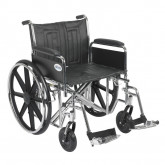 "Drive Medical Sentra EC Heavy Duty Wheelchair, Detachable Full Arms, Swing away Footrests, 22"" Seat"