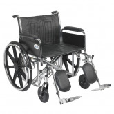 "Drive Medical Sentra EC Heavy Duty Wheelchair, Detachable Full Arms, Elevating Leg Rests, 24"" Seat"