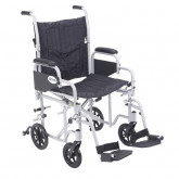 "Drive Medical Poly Fly Light Weight Transport Chair Wheelchair with Swing away Footrests, 20"" Seat"