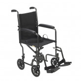 "Drive Medical Lightweight Steel Transport Wheelchair, Fixed Full Arms, 19"" Seat"