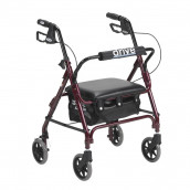 Drive Medical Junior Rollator Rolling Walker with Padded Seat, Red