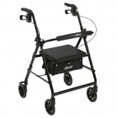 """Drive Medical Rollator Rolling Walker with 6"""" Wheels, Fold Up Removable Back Support and Padded Seat, Black"""