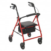 """Drive Medical Rollator Rolling Walker with 6"""" Wheels, Red"""