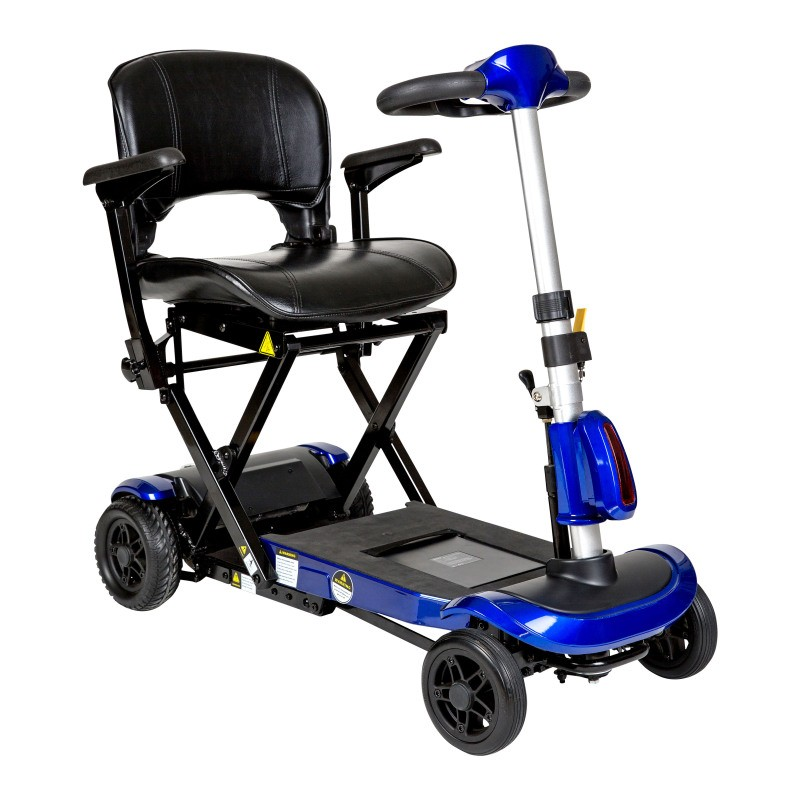 Drive Medical ZooMe Auto-Flex Folding Travel Scooter, Blue
